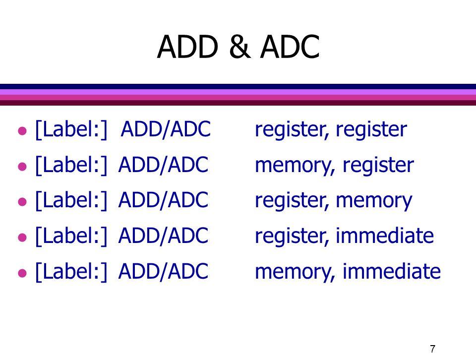 ADD & ADC [Label:] ADD/ADC register, register